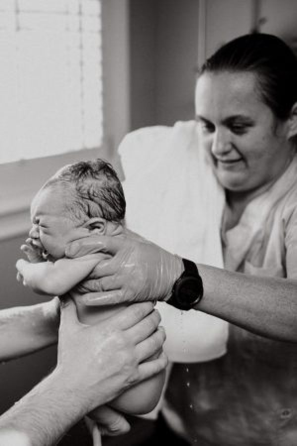 Midwife Julie and baby